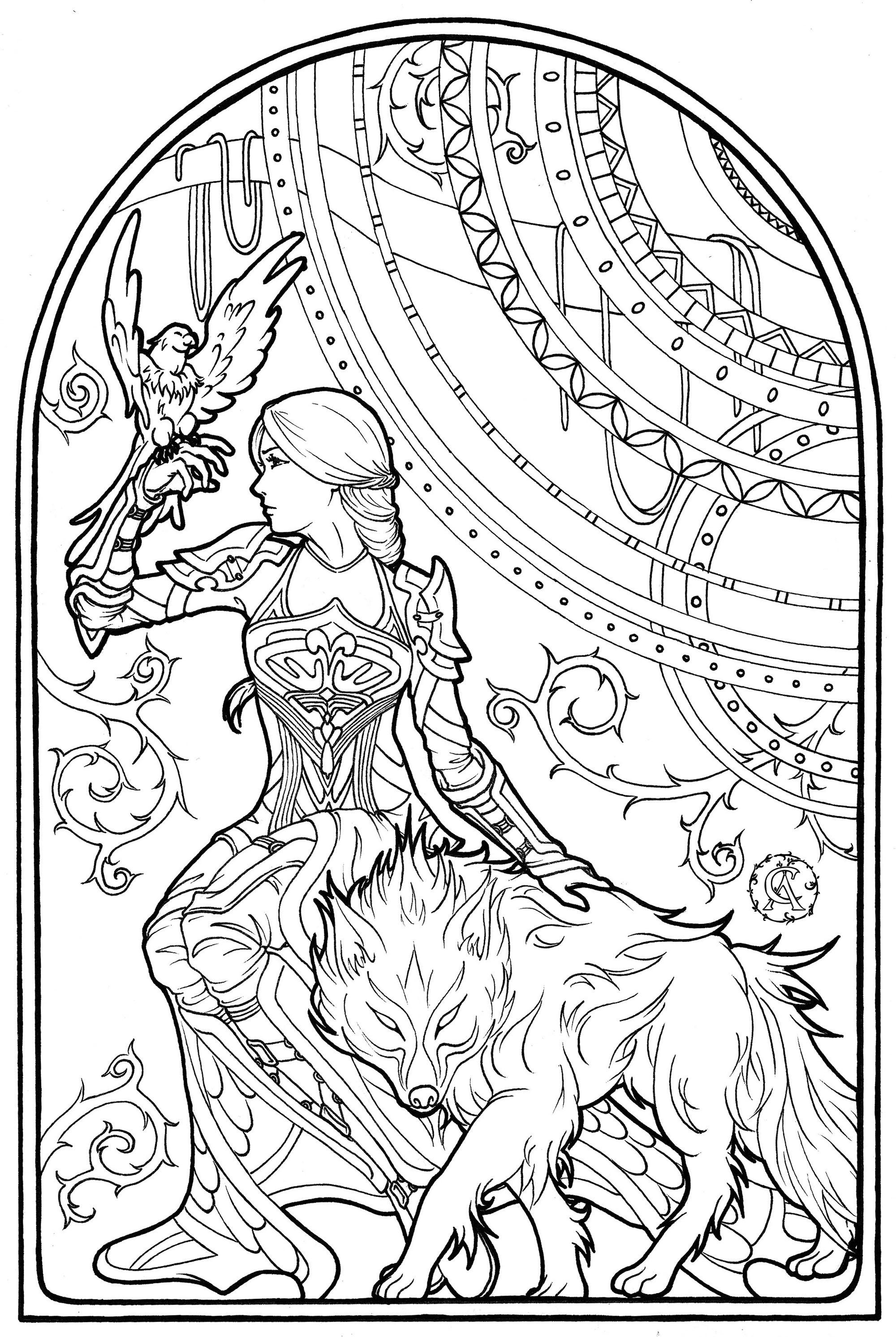 Cette femme intrépide est en compagnie de son faucon et de son loup enchanté. Dessin dans un style Art Nouveau
