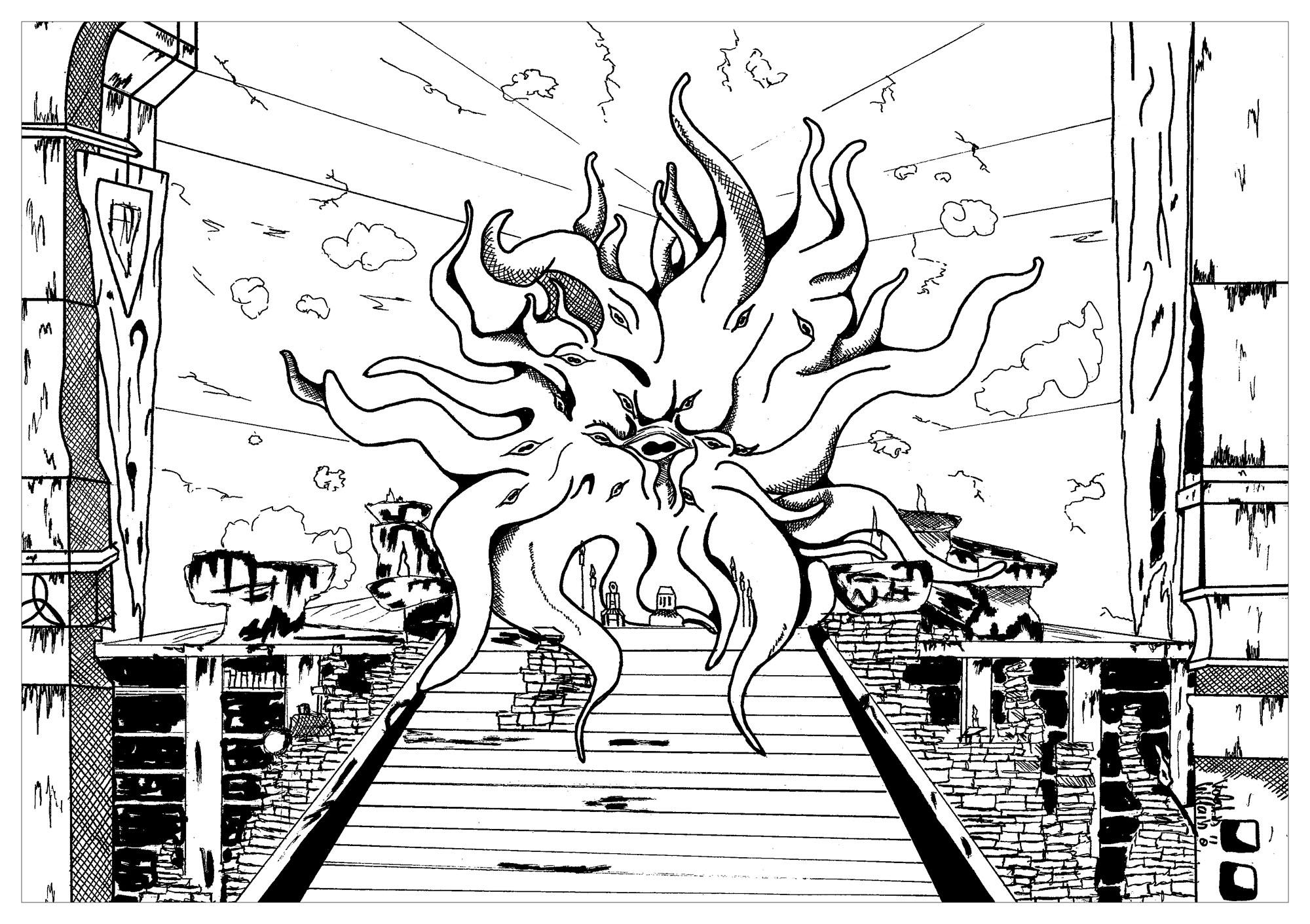 Coloriage inspiré du jeux vidéo skyrim représentation D'Hermaeus Mora le Prince Daedra des forêts, le gardien de la connaissance et de la mémoire