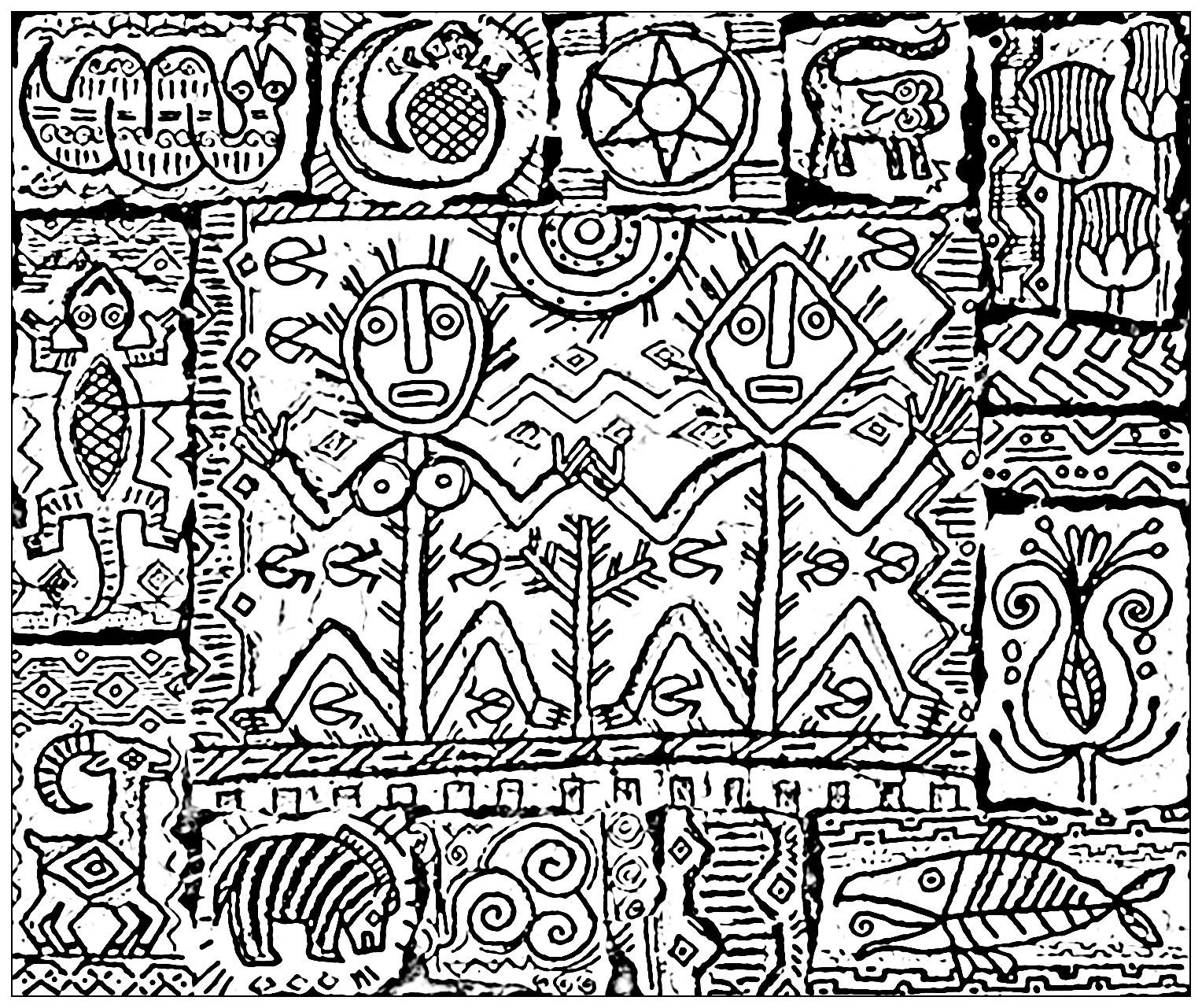 Dessin d'inspiration chamanique représentant l'alliance entre le féminin sacré et le masculin sacré
