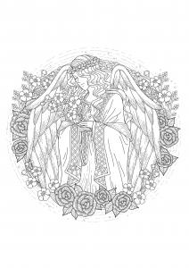 Coloriage adulte ange