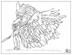 Coloriage adulte dessin Homme ailes par valentin