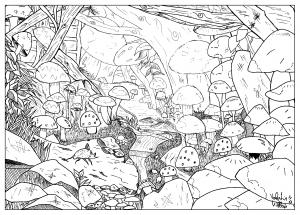 Coloriage adulte dessin Paysage feerique champignon par valentin