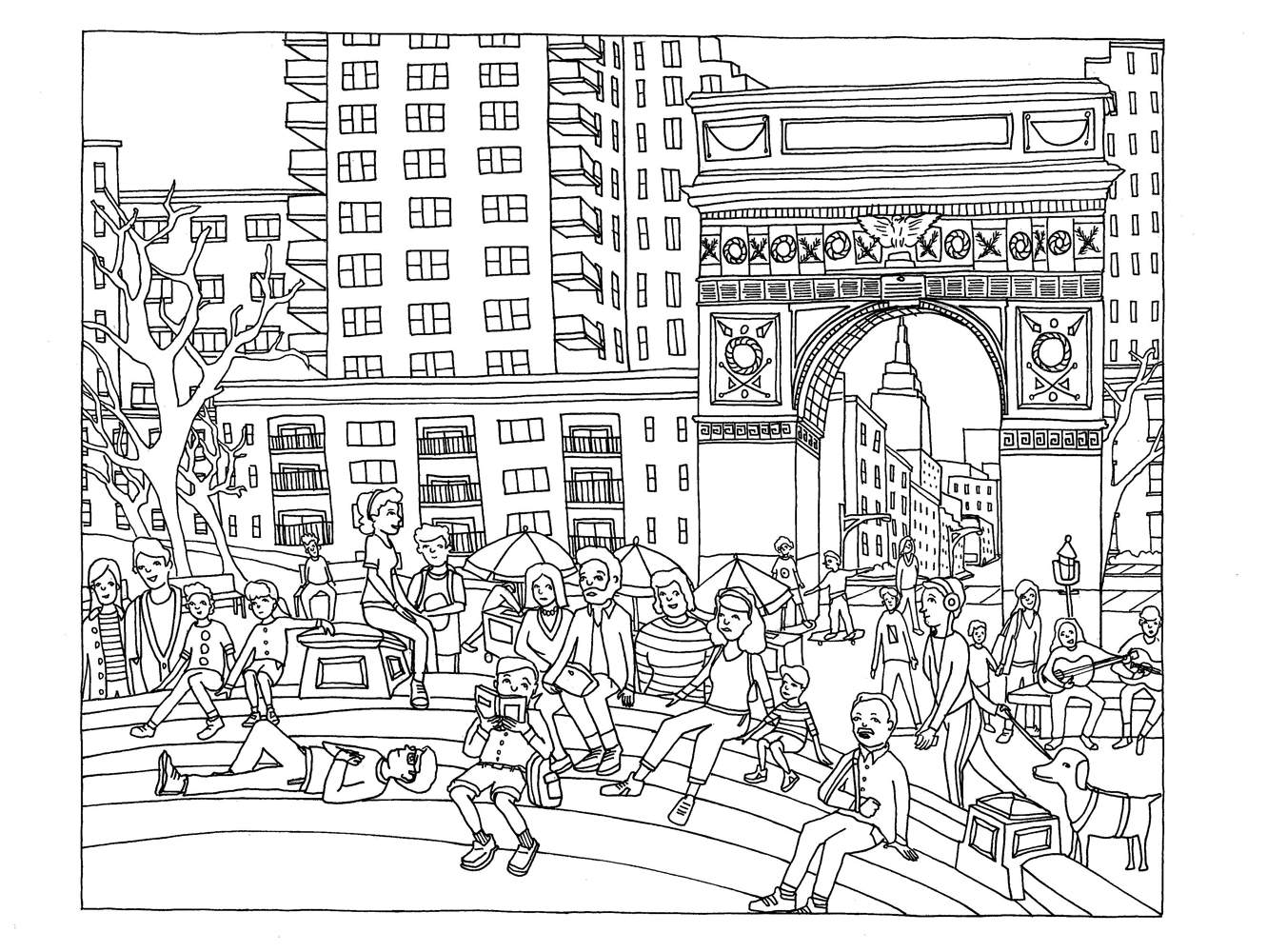 Coloriage Adulte New York.New York Washington Square New York Coloriages