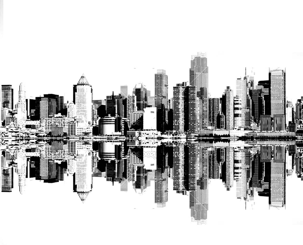 Les Gratte-cliels de New York vu depuis l'autre côté de la rivière Hudson : à imprimer et colorier