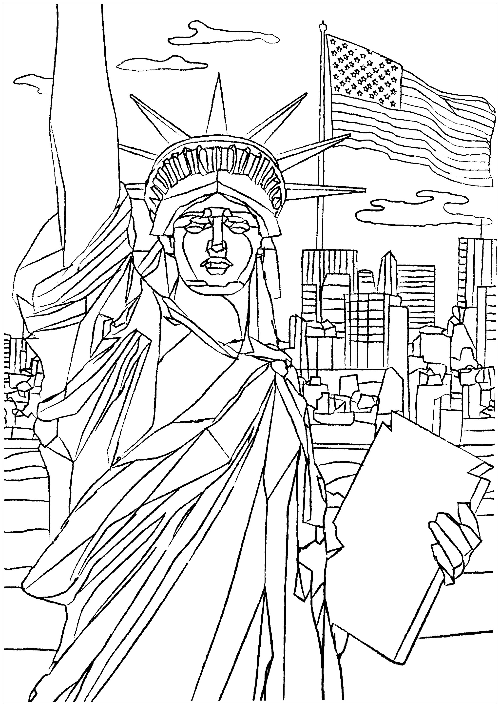 Coloriez la fameuse statue de New York, construite en 1886 par le sculpteur français Bartholdi