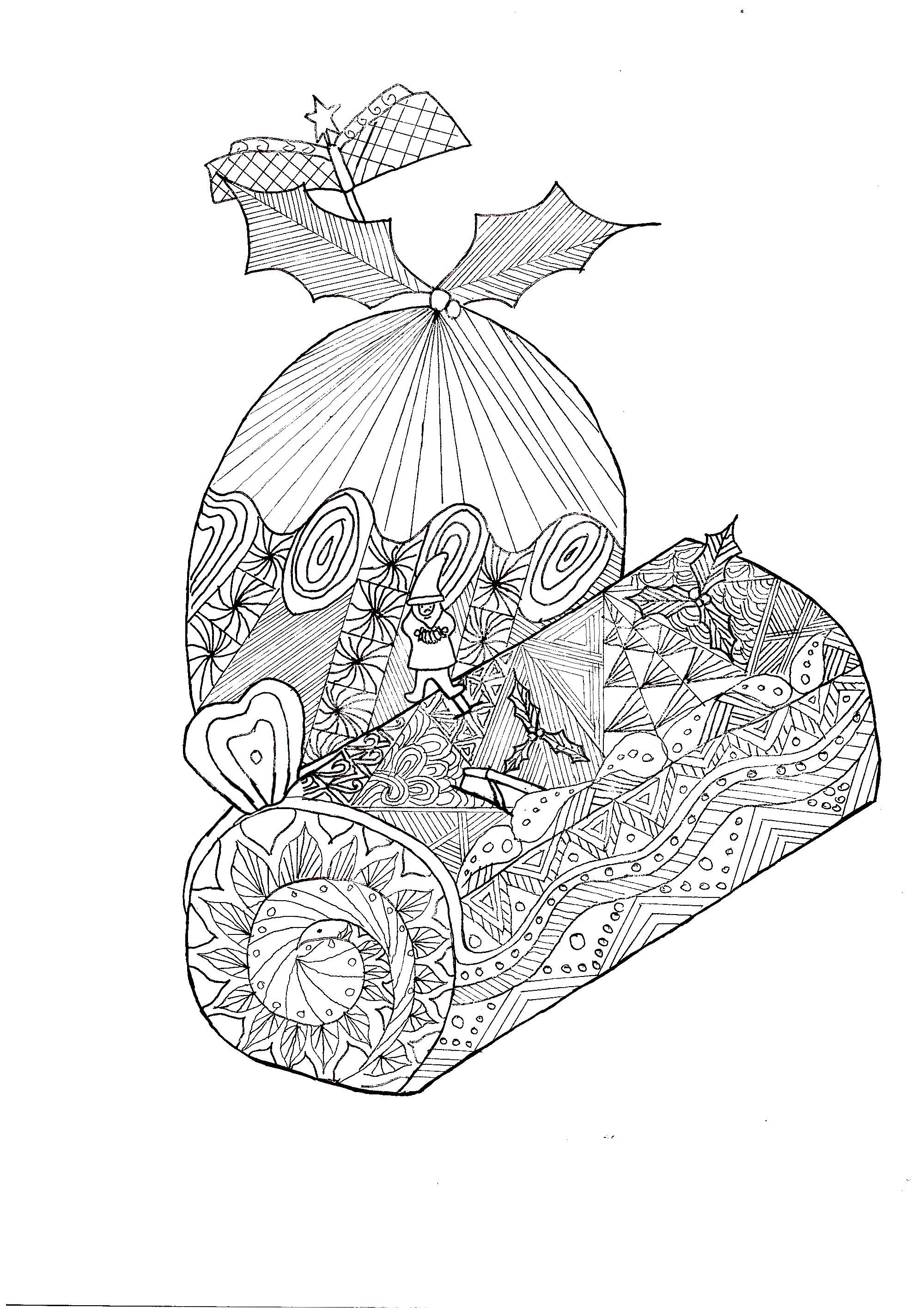 Zentangle buche noel no l coloriages difficiles pour adultes - Mandala de noel a colorier et imprimer ...