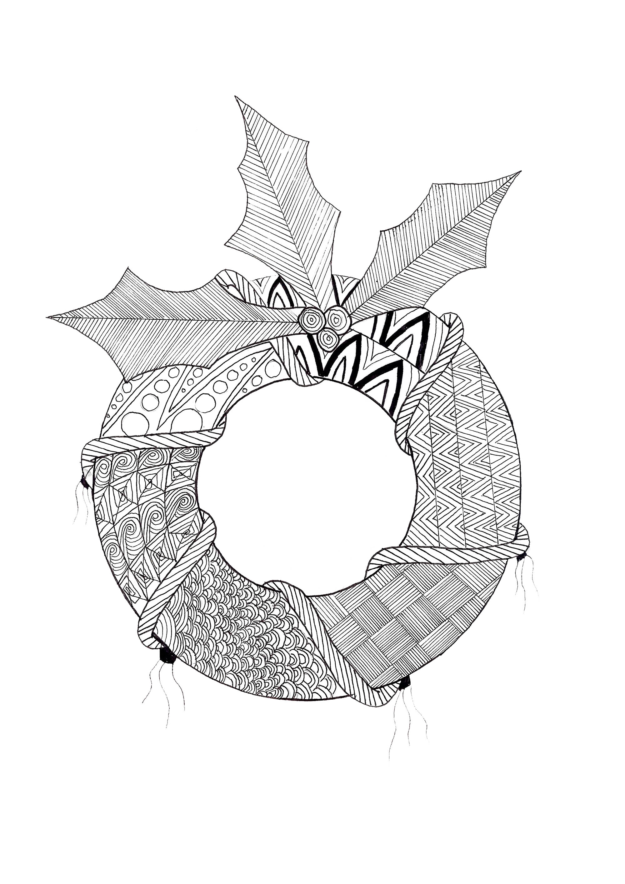 Superbe couronne de Noël avec des motifs complexe de zentangle