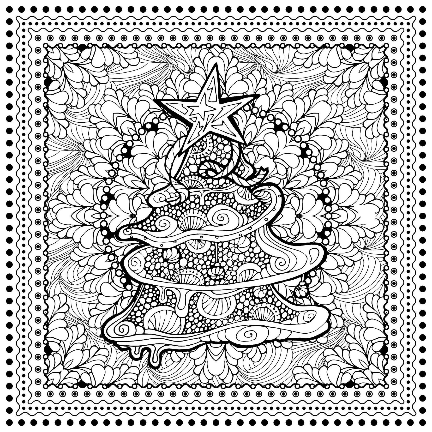 Arbre noel ilonitta no l coloriages difficiles pour adultes - Coloriage magique de noel a imprimer ...
