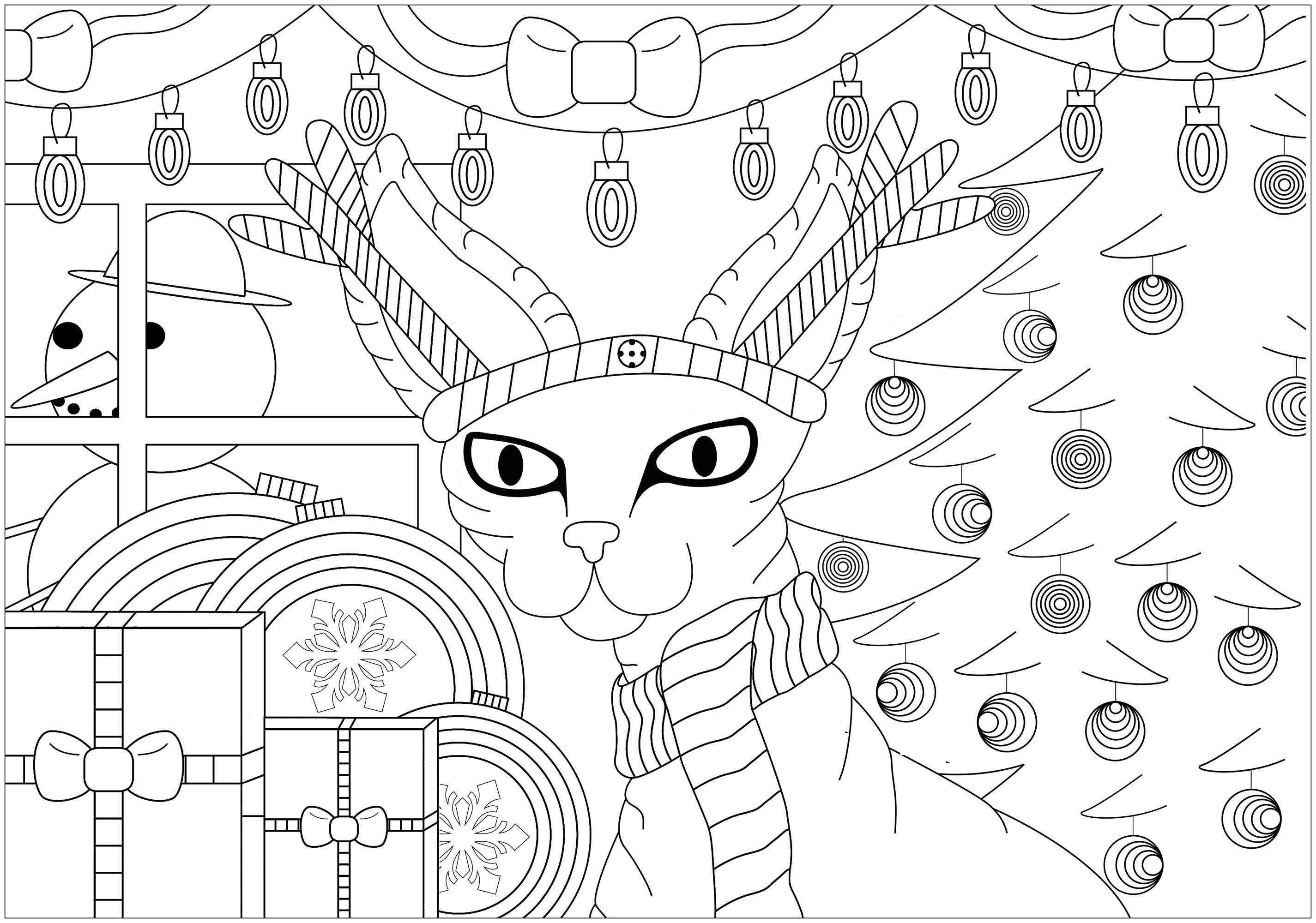 Coloriage Chat Noel.Chat Sphinx De Noel Noel Coloriages Difficiles Pour Adultes