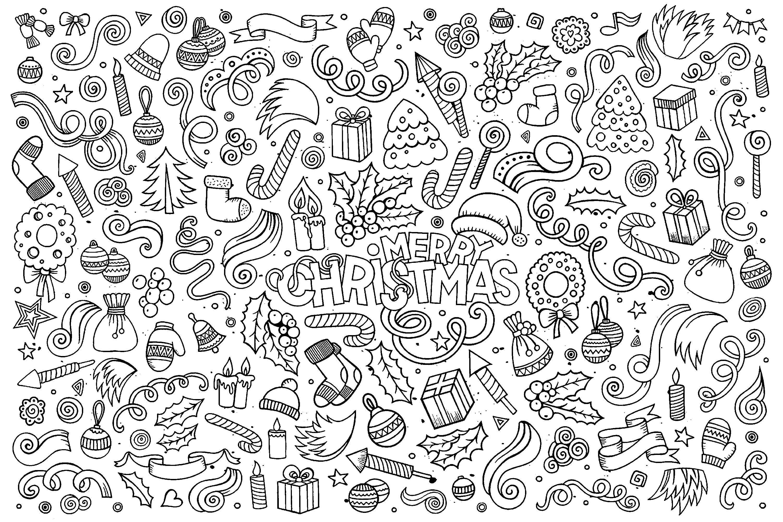 doodle de no l no l coloriages difficiles pour adultes. Black Bedroom Furniture Sets. Home Design Ideas
