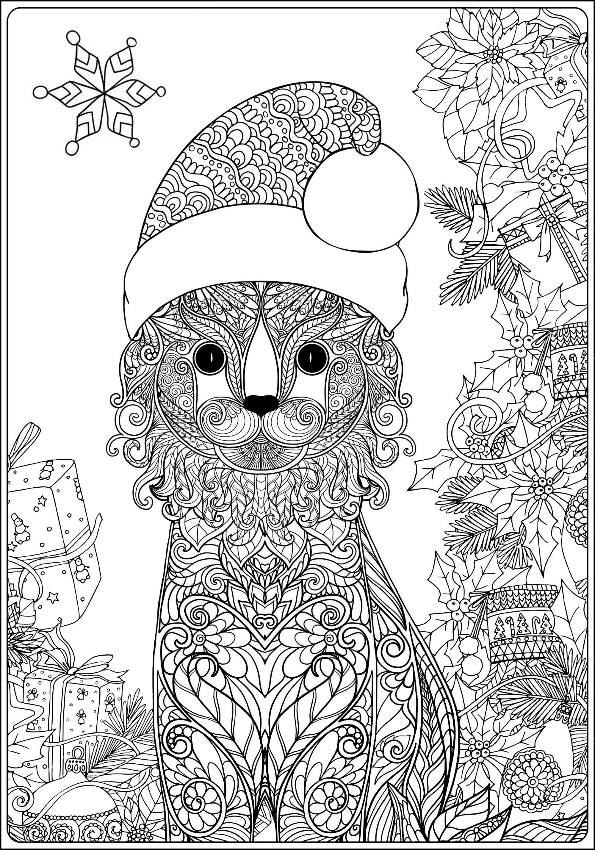 Joli chat et son chapeau de p re no l no l coloriages difficiles pour adultes - Chat a colorier adulte ...