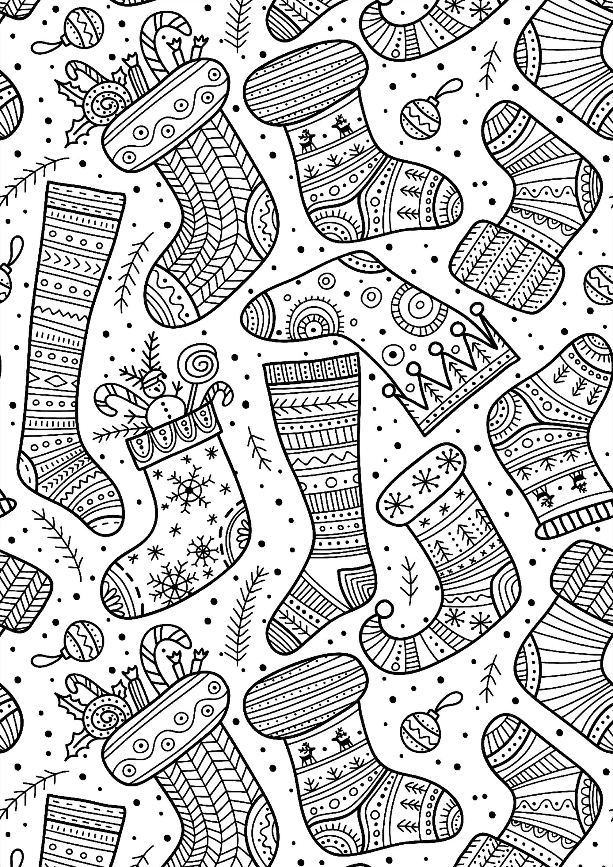 Jolies chaussettes de no l no l coloriages difficiles pour adultes - Coloriage de om ...