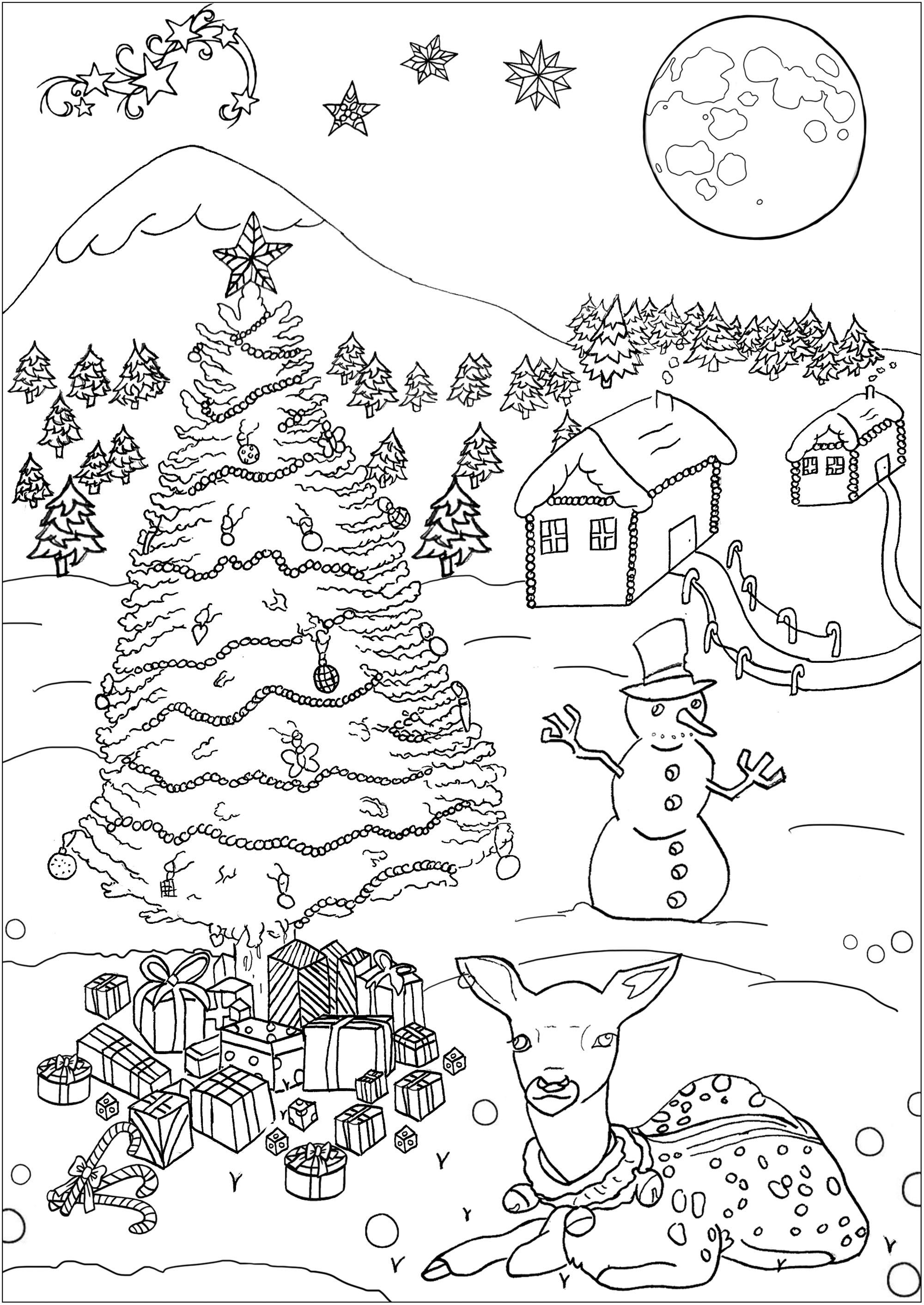 Paysage de Noël   Noël   Coloriages difficiles pour adultes
