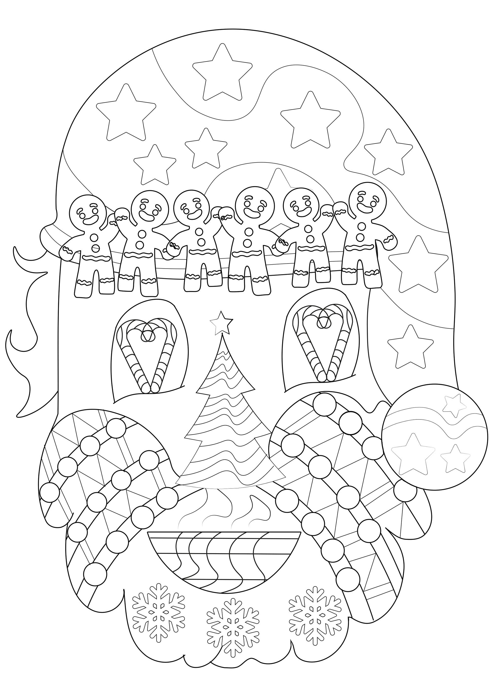 Coloriez cette tête de Père Noël avec différents symboles de Noël : sapin, flocons de neige, guirlandes de Noël, boules de Noël, chocolat chaud, bonbons, étoiles ...