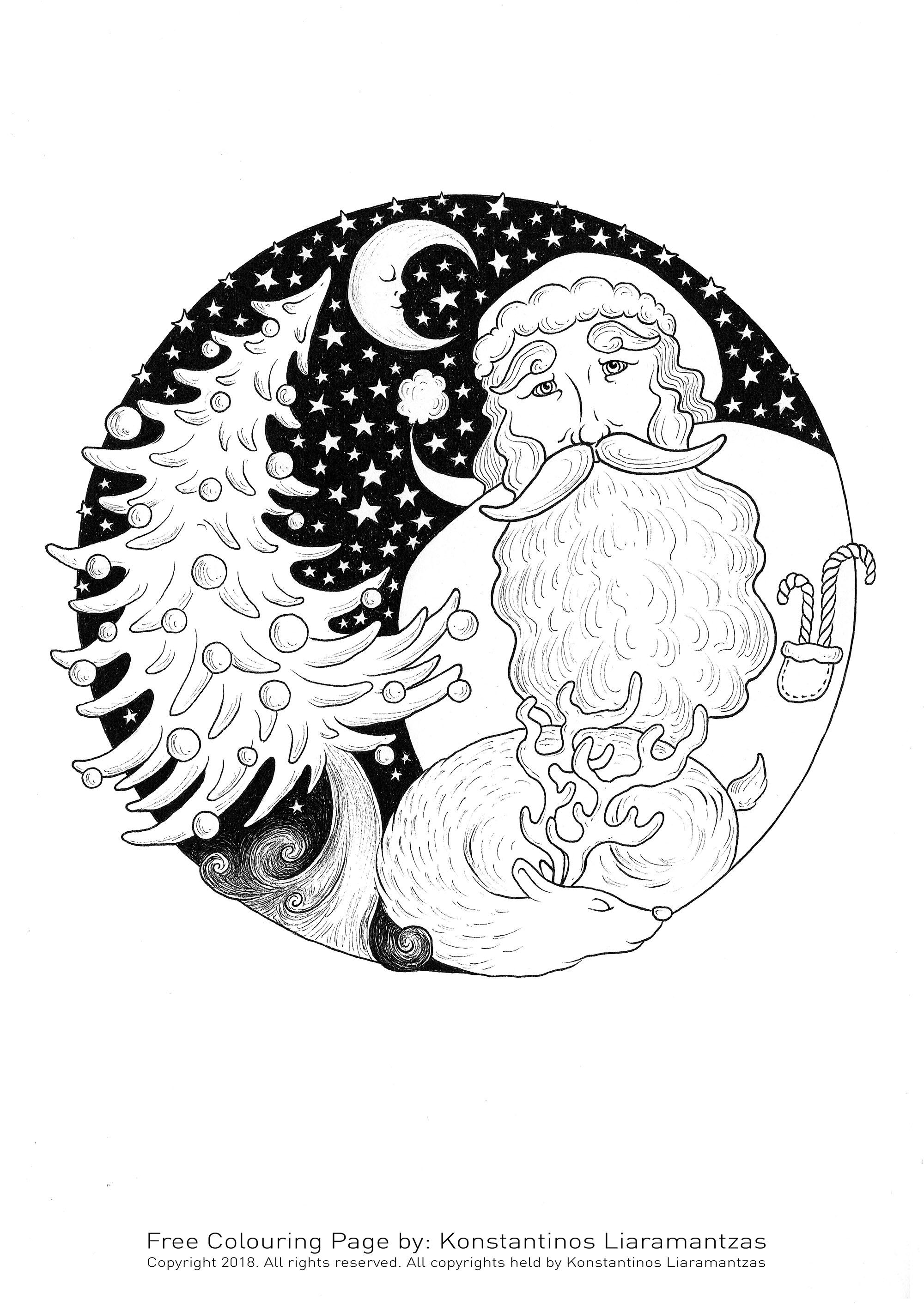 Père noel pendant une nuit étoilée avec son renne endormi