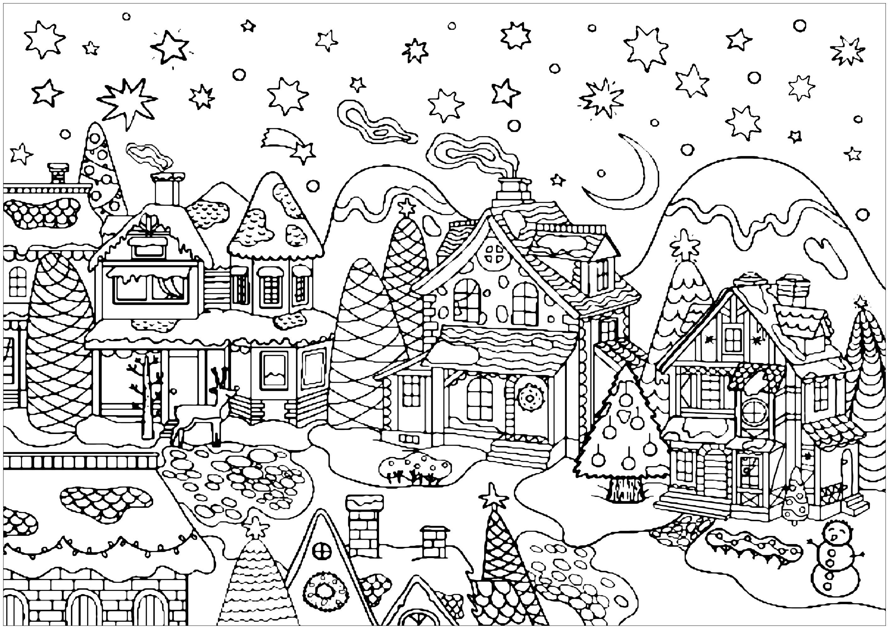 Village de Noël   Noël   Coloriages difficiles pour adultes