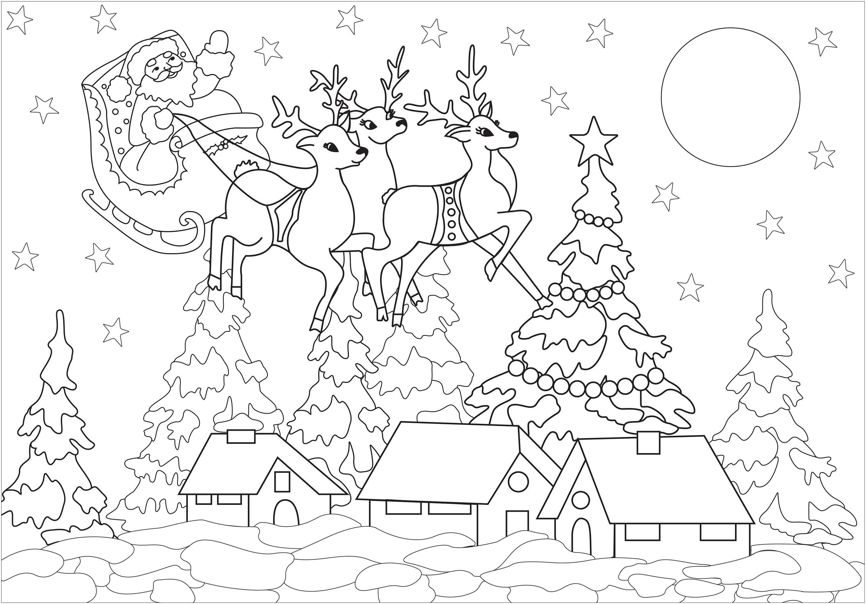 Le Père Noël arrive dans ce joli village enneigé
