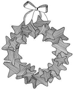 Coloriage couronne noel