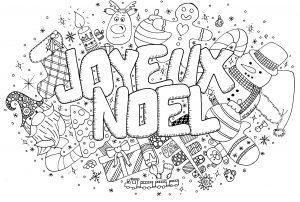Coloriage doodle noel par azyrielle