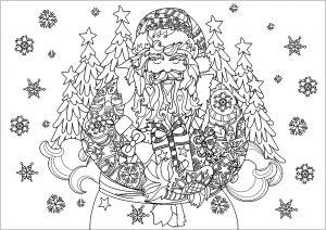 Père Noël avec ses cadeaux