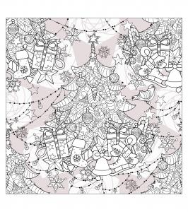 coloriage-arbre-de-noel-zentangle-par-Irina-Yazeva free to print