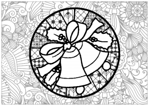Coloriage complexe cloches noel