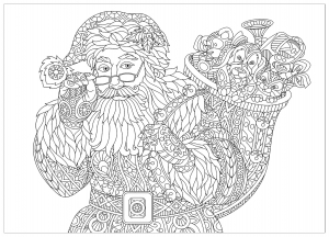 89749239   coloring page of santa claus with full bag of holiday gifts. christmas vintage snowflakes. freehand sketch drawing for 2018 happy new year greeting card or adult antistress coloring book.