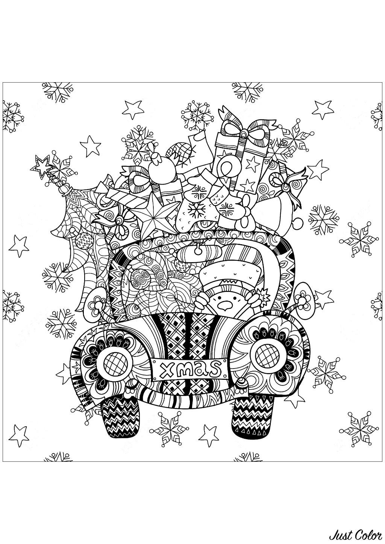 Ajoutez des couleurs à ces cadeaux qui remplissent cette petite voiture conduite par un bonhomme de neige