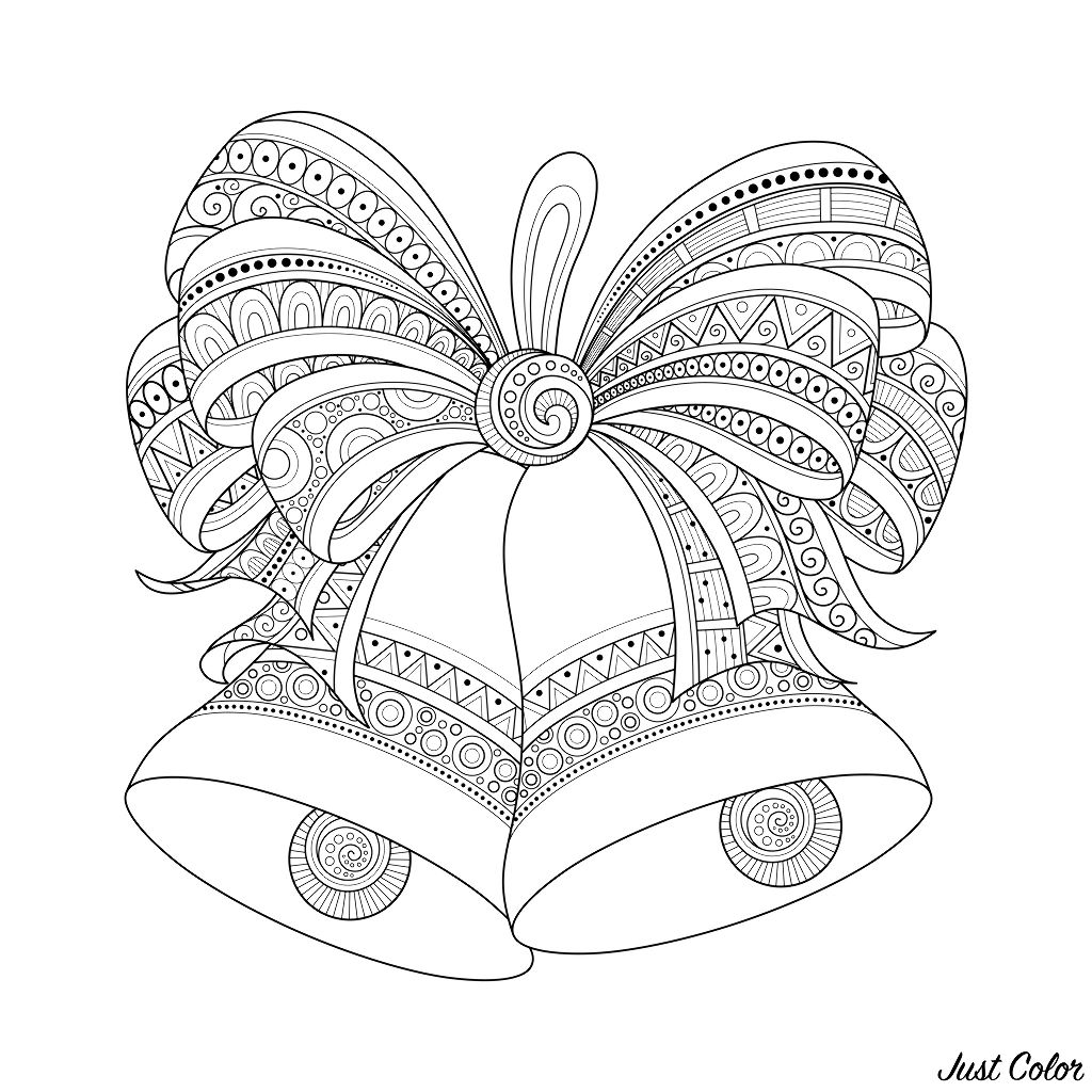Cloches De Noel Zentangle Style Noël Coloriages Difficiles Pour
