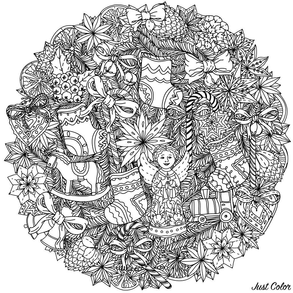 Une couronne de Noël (ou un Mandala ?) ... A colorier sans plus tarder, très complexe !