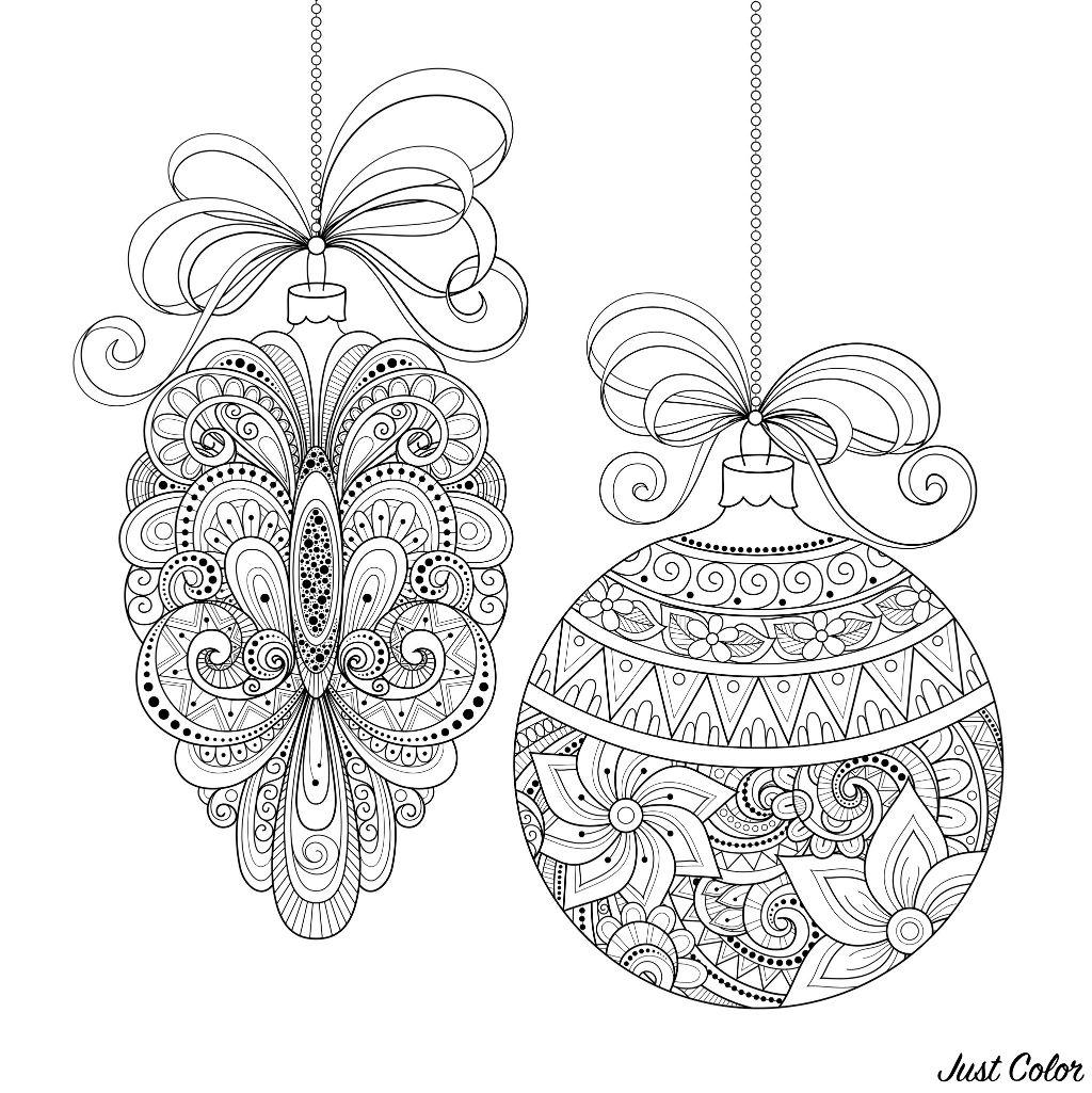Decorations De Noel Noel Coloriages Difficiles Pour Adultes