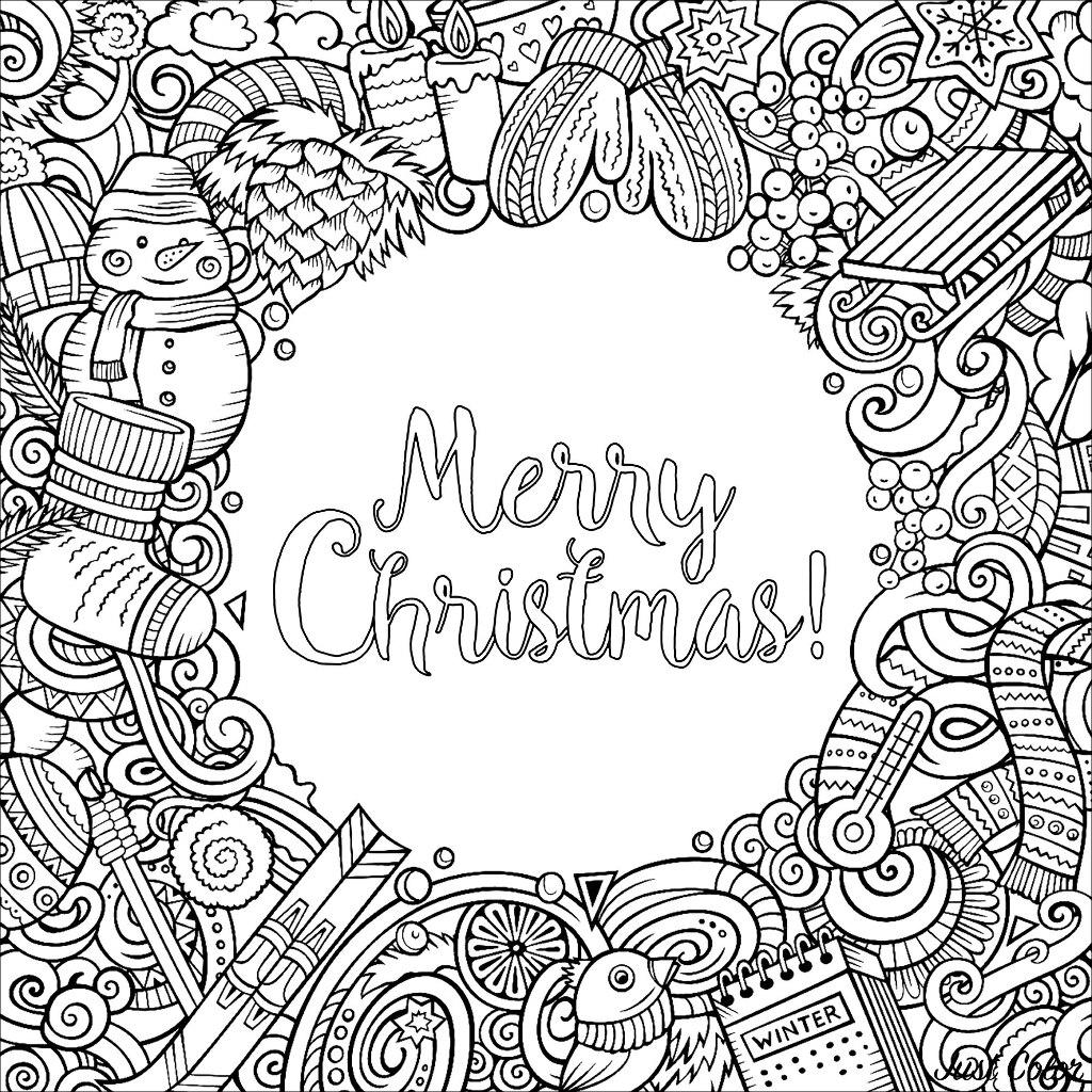 Un coloriage carré aux nombreux objets symboliques de Noël