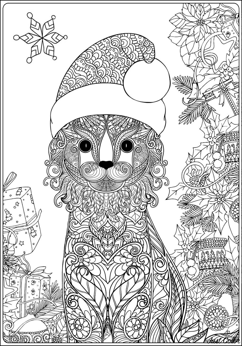 Coloriez cet adorable chat et ses nombreux motifs. N'est t'il pas mignon avec son chapeau de Papa Noël ?