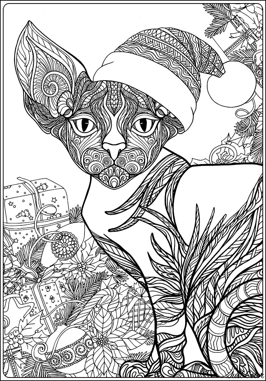 Un Chat (Sphynx), protégeant de nombreux cadeaux de Noël