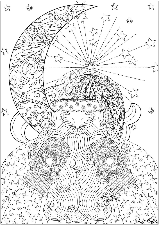 Père Noël aux jolis gants décorés, avec en arrière plan la lune et de belles étoiles