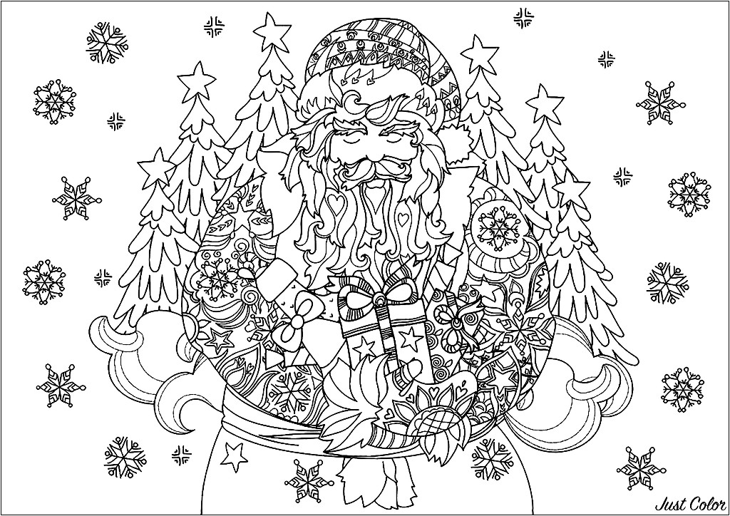 Joli Père Noël entouré de flocons de neige, avec ses cadeaux prêts à être offerts, et de jolis sapins en arrière-plan