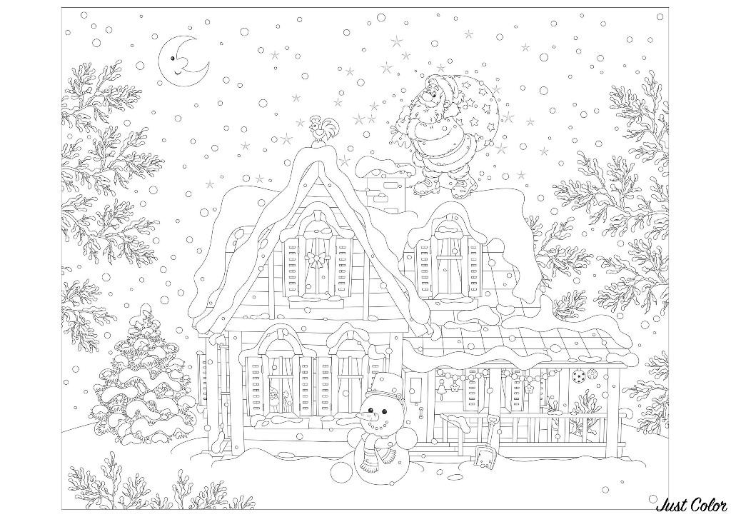 Un bonhomme de neige et le Père Noël, prêt à livrer ses cadeaux dans cette belle maison