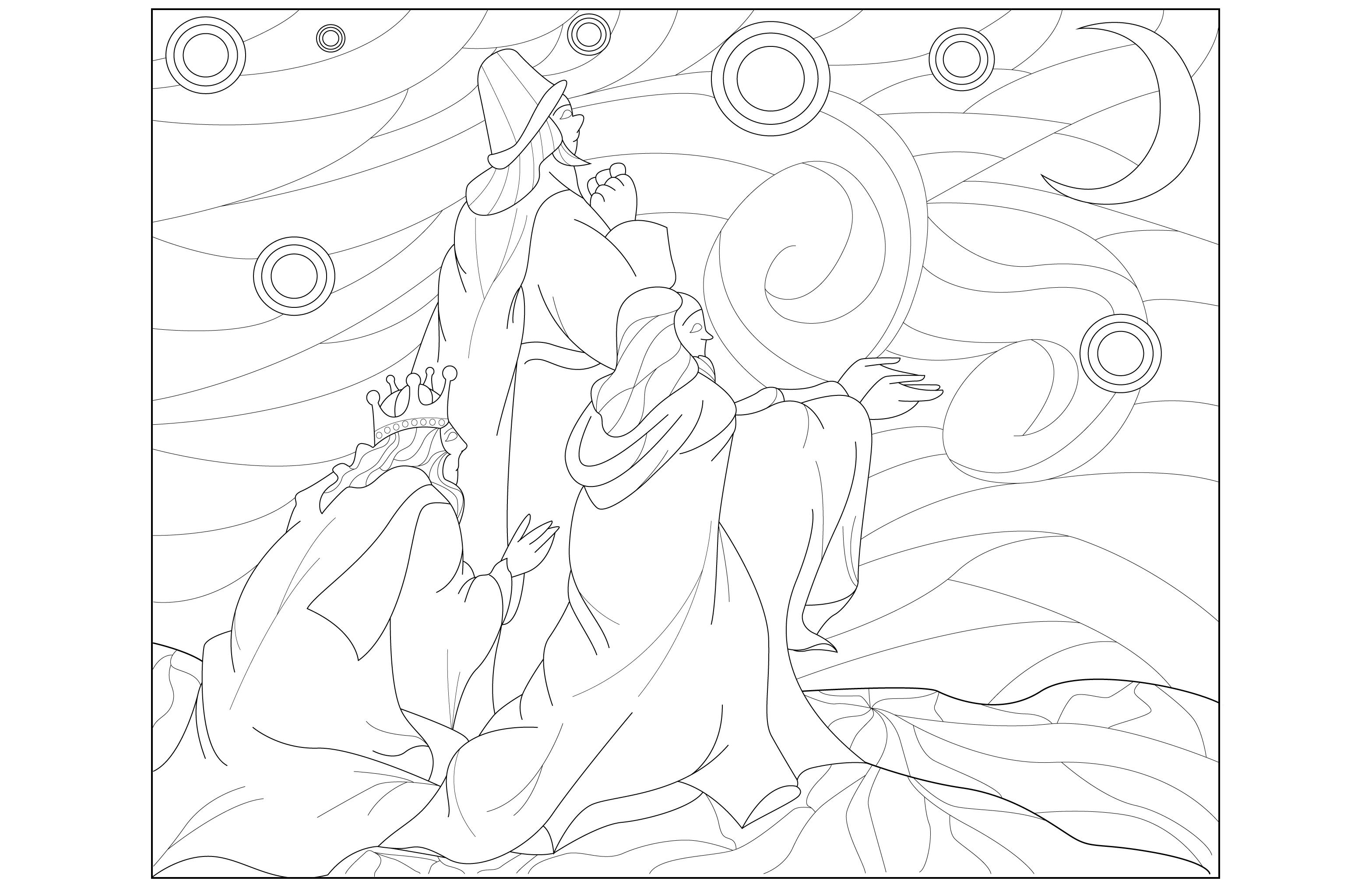 Coloriage des rois mages : Gaspard , Melchior et Balthazar avec une inspiration du tableau ' la nuit étoilée ' .