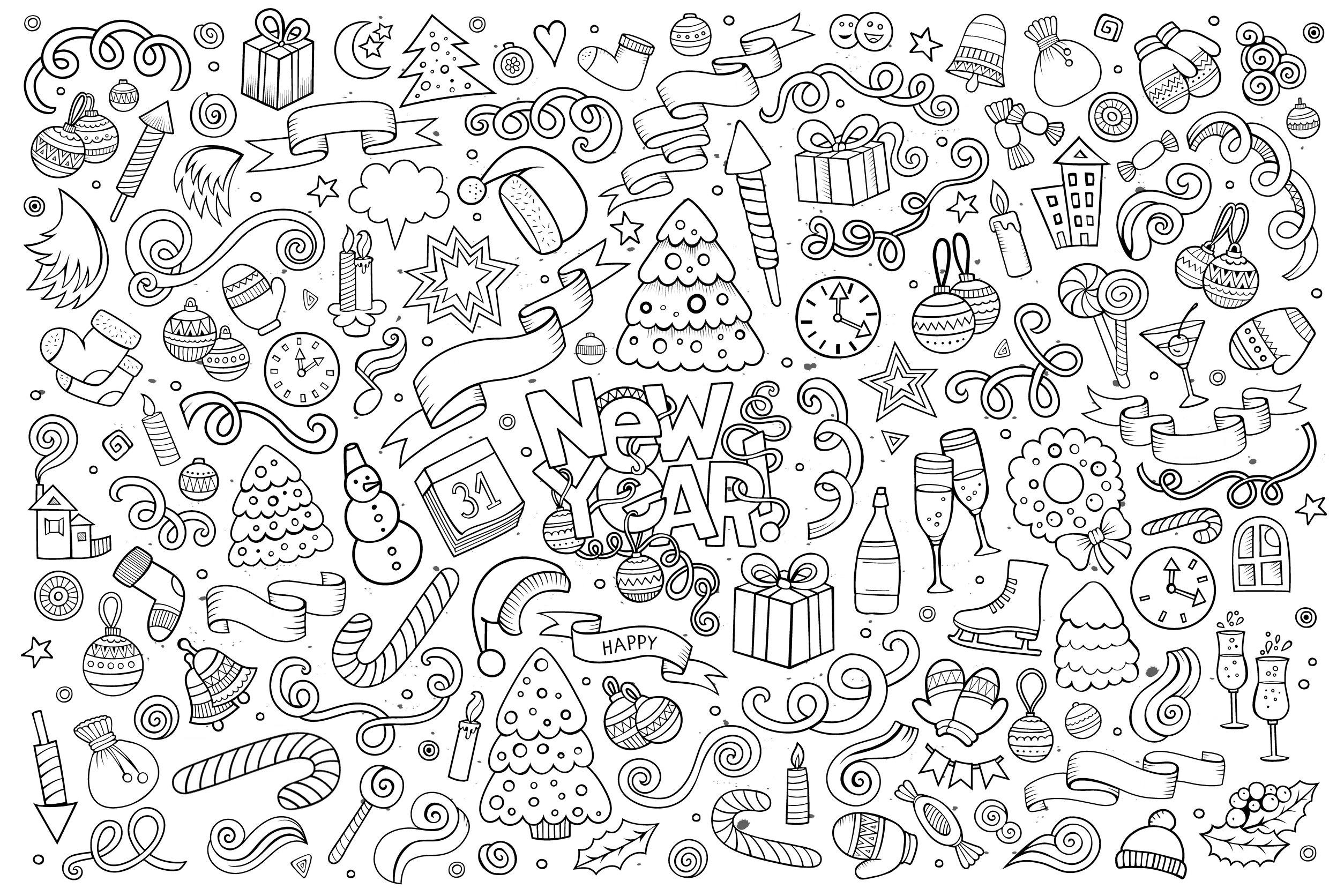Bonne Annee Style Doodle Nouvelle Annee Coloriages Difficiles