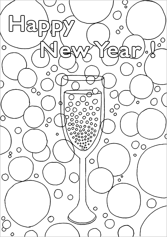 Bonne et Heureuse année avec ce magnifique coloriage représentant un verre de Champagne entouré de bulles légères