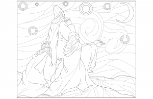 Coloriage adulte Rois mages par Juline