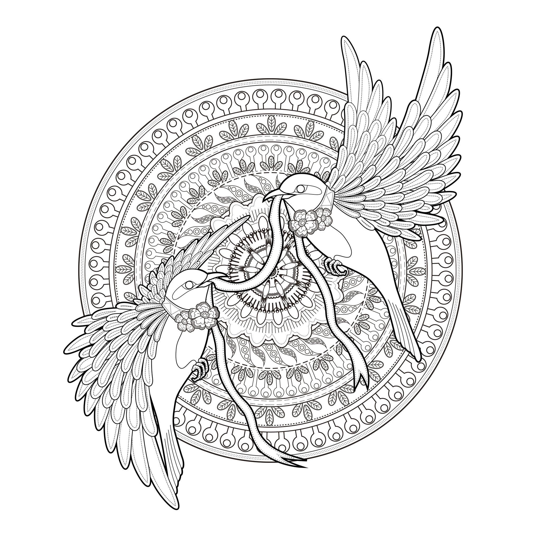 Mandala deux hirondelles et un ruban oiseaux coloriages difficiles pour adultes - Mandala adulte ...