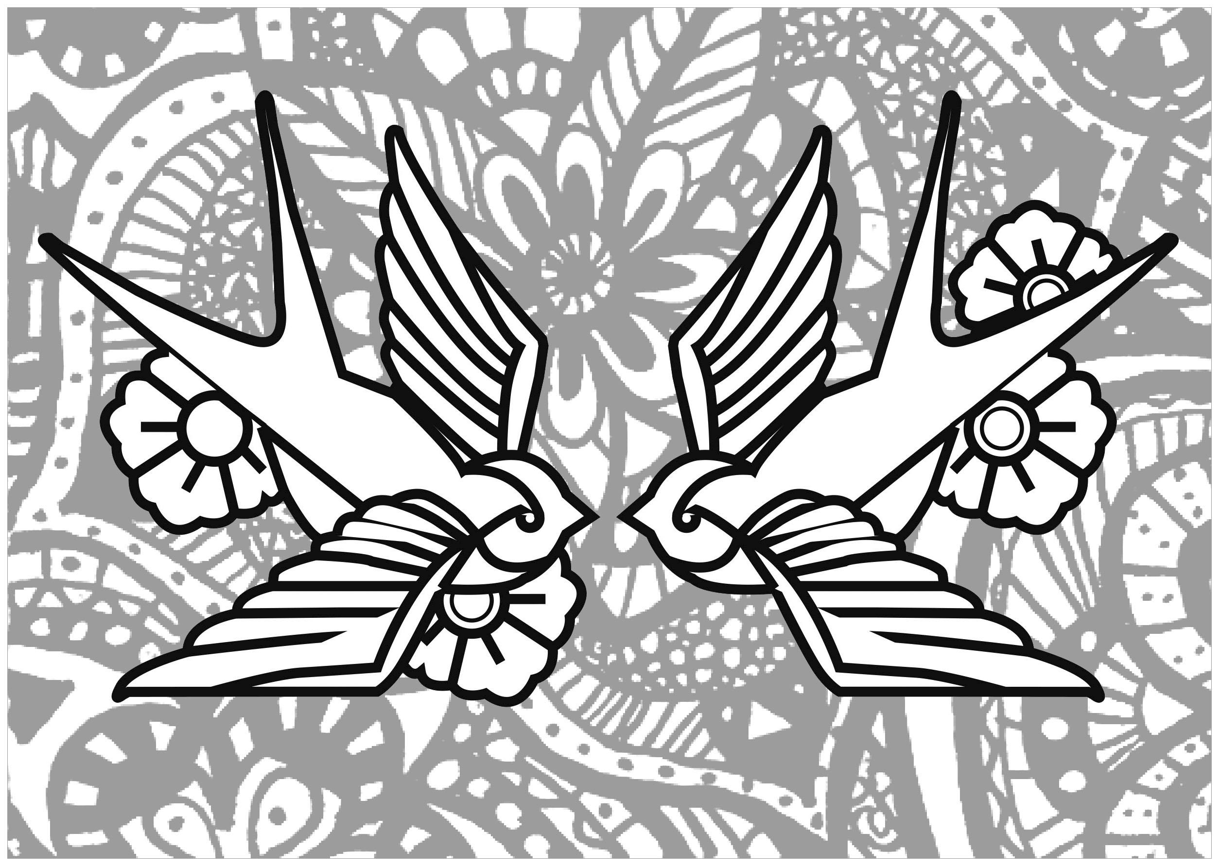 Jolies hirondelles à colorier, avec fond composé de fleurs