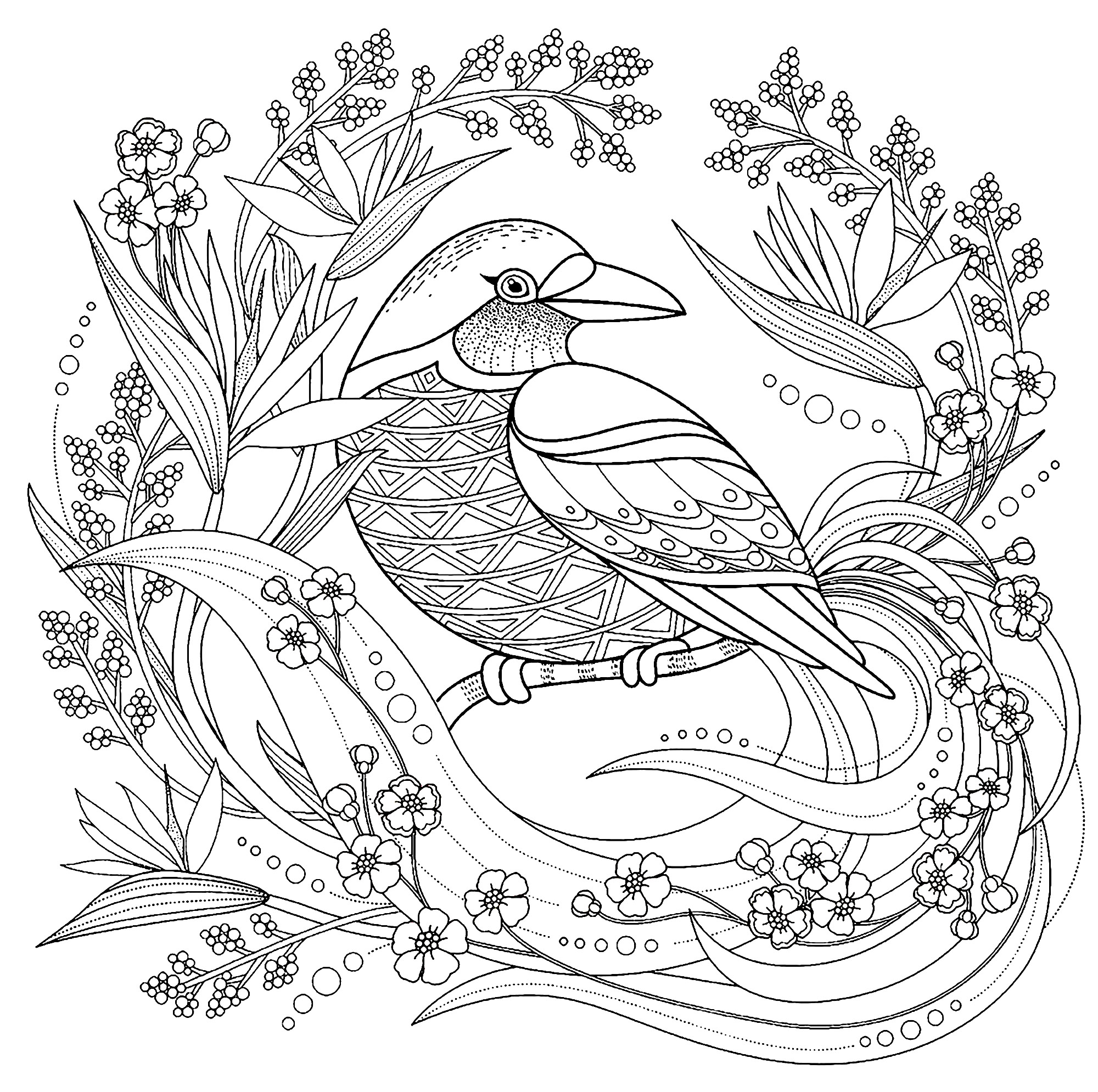 Oiseau avec elements floraux