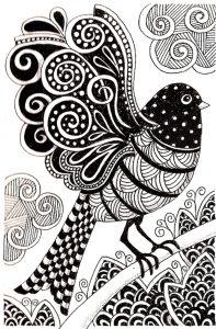 Coloriage adulte oiseau sombre