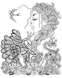Coloriage femme cygne et oiseau