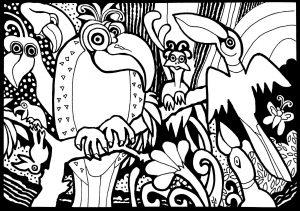 Coloriage perroquets et oiseaux