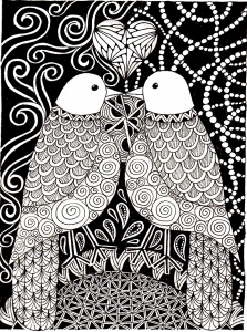 Coloriage adulte animaux peruches amour