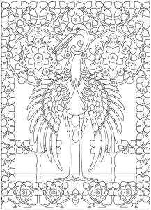 Coloriage adulte grand heron majestueux