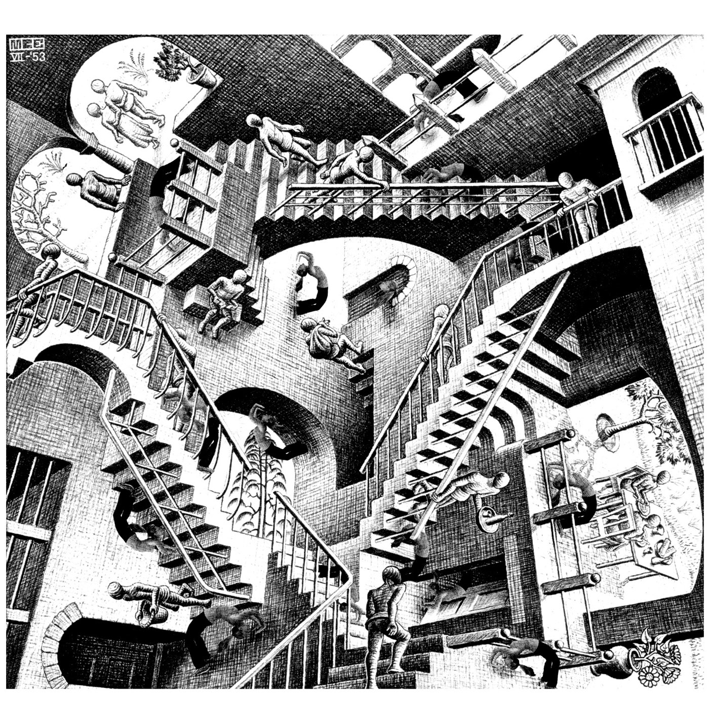 Mc Escher Relativity Art Optique Coloriages Difficiles